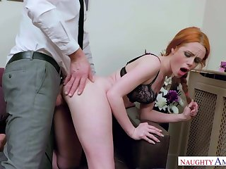 Crimson haired tear all over female, Ella Hughes got wedged with a gigantic manmeat, until she came