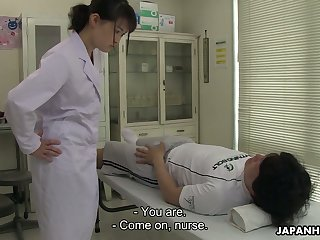 Turned first of all though shy looking Japanese nurse Sayaka Aishiro gives nice blowjob