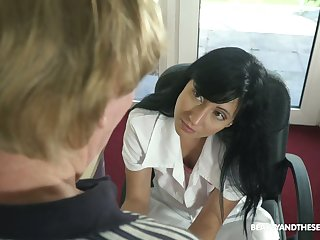 Old patient has the honor to fuck nasty young nurse in uniform Sher Herb