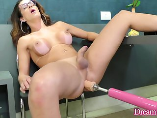 Big Tits TS Janaina Carvalho Surrenders Her Asshole to a Fucking Apparatus