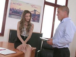 Beloved newbie in the office Karina Grand is already into doggy fuck