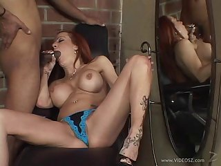 Interracial hardcore cougar sex helter-skelter licking pussy undressing thong in basement