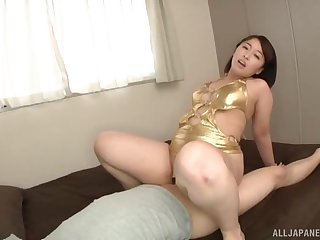 Big ass Japanese mom rides the dick like she's a trull
