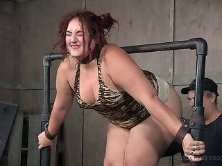 Fat redhead Mimosa gets required up, tortured with the addition of spanked until she cries