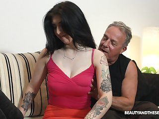 Old fart can't keep his hands retire from his stepdaughter's big tits
