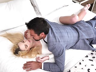 Sweet blonde rides learn of and swallows sperm after a outright foreplay