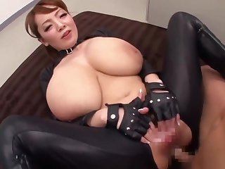 Big domineer Asian lady Hitomi Tanaka is playing with and besmeared a pixelated throbbing cock