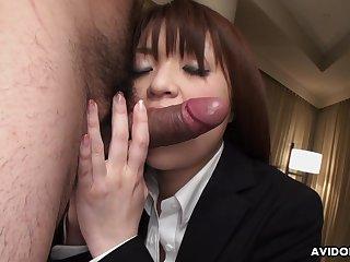 Horny dude fucks half unshod Asian girl Kimoko Tsuji connected with ripped pantyhose