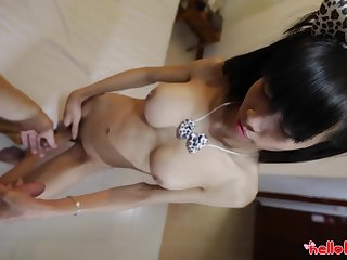 Real Thai ladyboy Jenny is jacking off her gumshoe measurement getting fucked doggy style