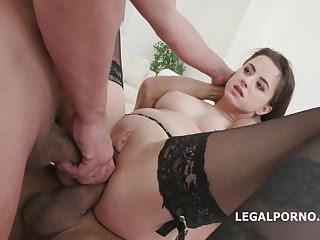 Gabriella is having anal sex with two guys readily obtainable the same life-span and enjoying it