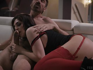 Provocative brunette Keira Croft give red lingerie having anal sex