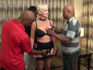 Interracial gangbang of robot GILF with a double penetration