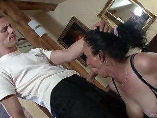 Horny granny Marianna is having derisive sex with young student