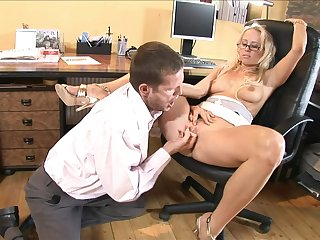 Coquettish blond hair lady wife cheating scrimp on touching colleague
