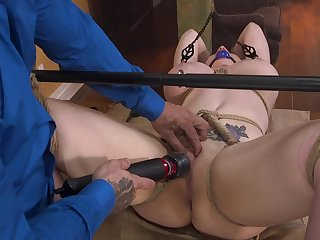 Hardcore pussy together with mouth fucking for tied up girl Nadia White