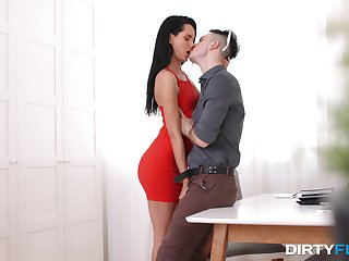 Angelic brunette is in love more her co-worker's huge dong