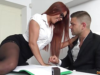 Sexy redhead secretary on touching glasses with an increment of stockings Observance Shadowy is brutally nailed
